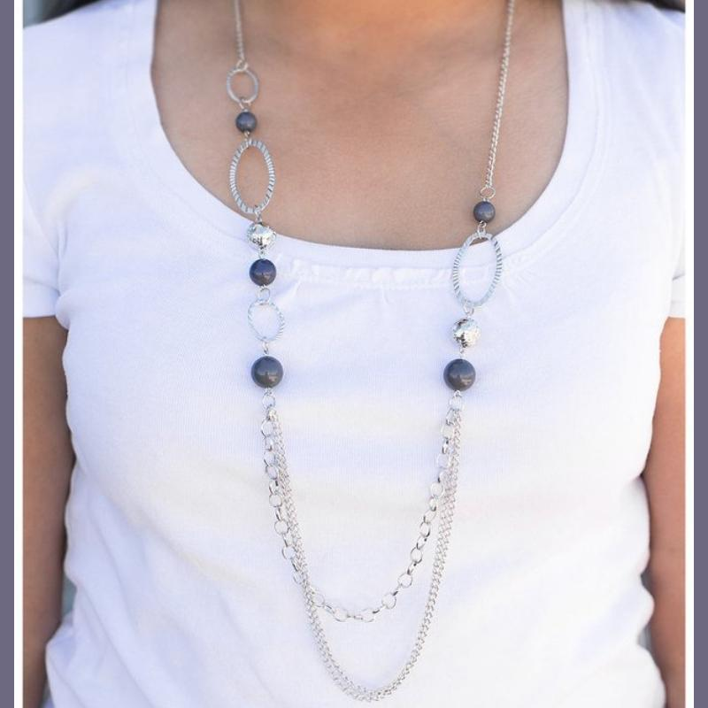Wicked Wonders VIP Bling Necklace Somewhere Along the Line Silver Necklace Affordable Bling_Bling Fashion Paparazzi