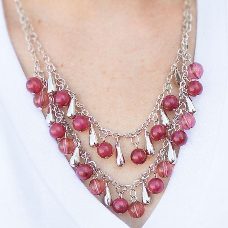 Wicked Wonders VIP Bling Necklace Stop, Drop and Roll Pink Necklace Affordable Bling_Bling Fashion Paparazzi