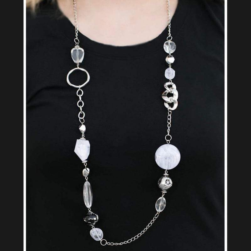 Wicked Wonders VIP Bling Necklace Sucker Punch White Necklace Affordable Bling_Bling Fashion Paparazzi