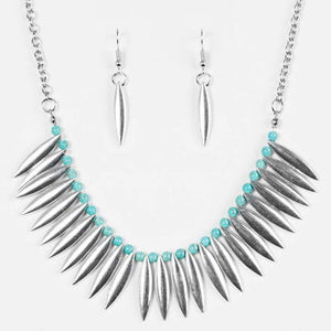 Wicked Wonders VIP Bling Necklace Tameless Tigress Blue and Silver Necklace Affordable Bling_Bling Fashion Paparazzi
