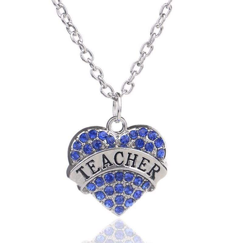 Wicked Wonders VIP Bling Necklace Teachers Have Heart Blue Rhinestone Necklace Affordable Bling_Bling Fashion Paparazzi