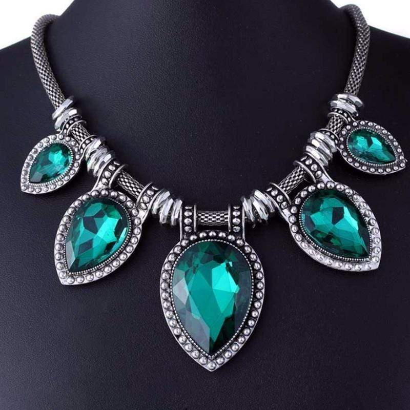 Wicked Wonders VIP Bling Necklace Tears Are Falling Green Gem Necklace Affordable Bling_Bling Fashion Paparazzi