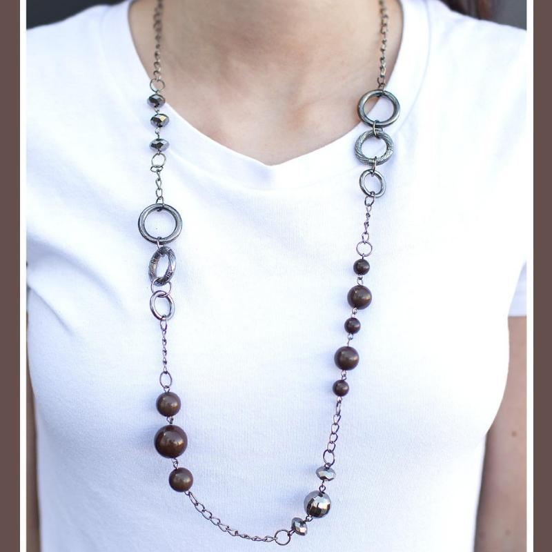 Wicked Wonders VIP Bling Necklace That Thing You Do Brown Necklace Affordable Bling_Bling Fashion Paparazzi