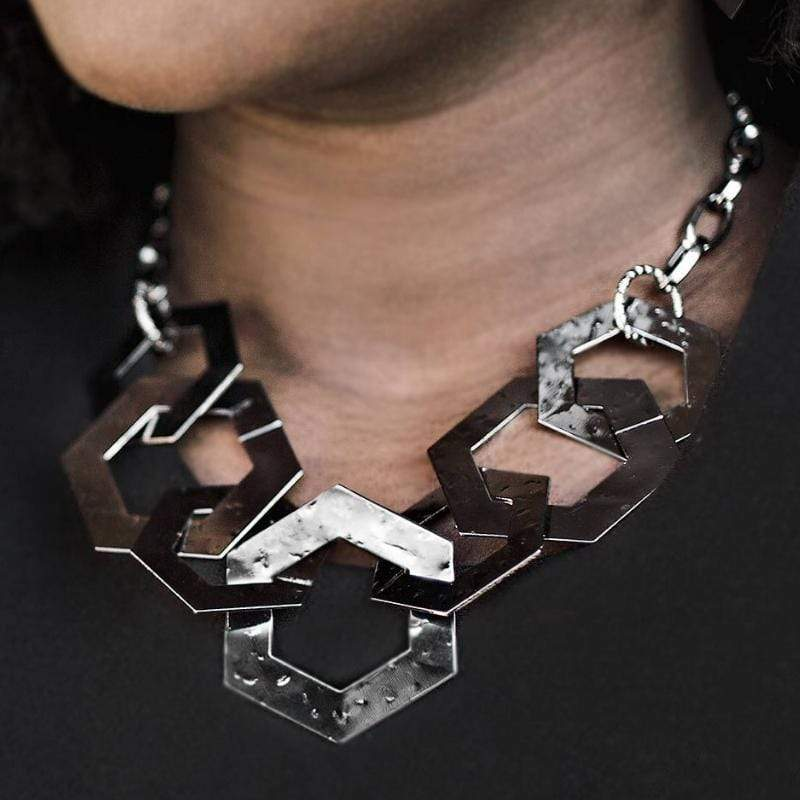 Wicked Wonders VIP Bling Necklace The HEX Factor Gunmetal Black Necklace Affordable Bling_Bling Fashion Paparazzi