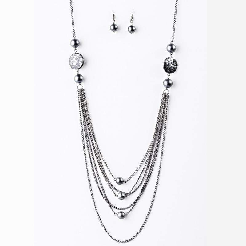 Wicked Wonders VIP Bling Necklace The Lineup Silver/Gunmetal Necklace Affordable Bling_Bling Fashion Paparazzi