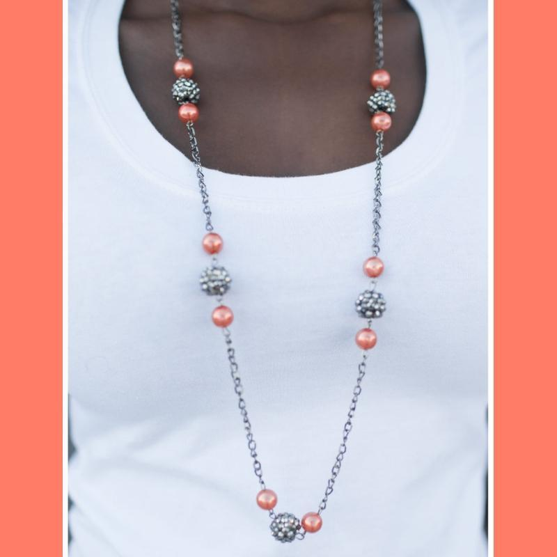 Wicked Wonders VIP Bling Necklace The Rocker Orange Necklace Affordable Bling_Bling Fashion Paparazzi