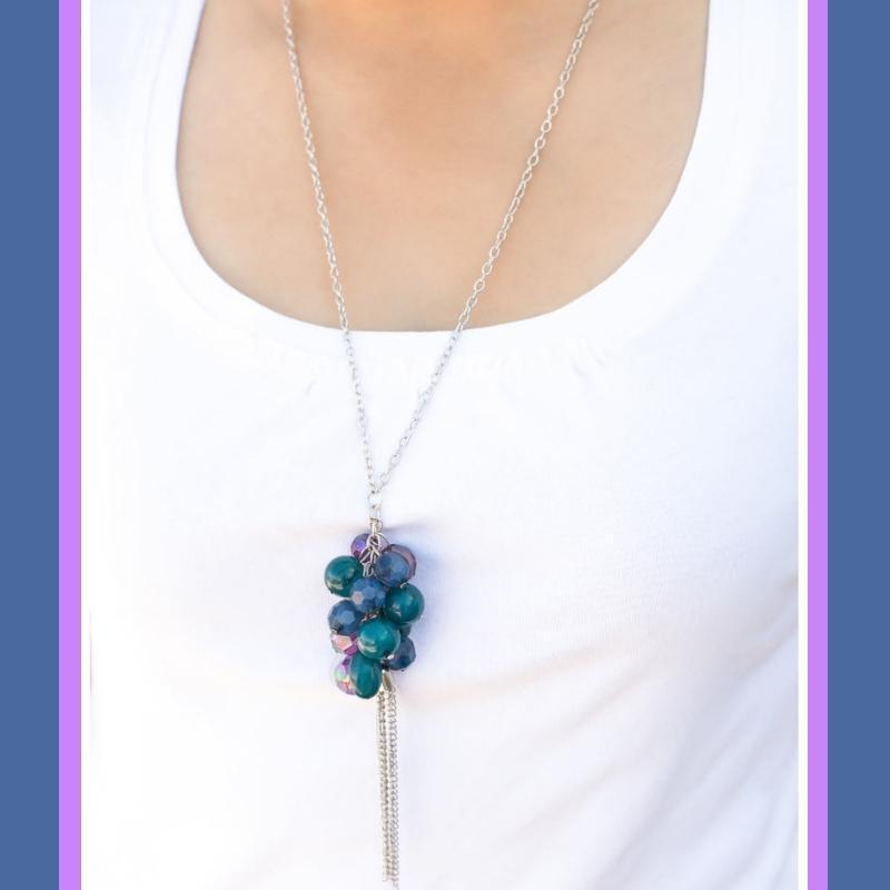 Wicked Wonders VIP Bling Necklace The Sweet Life Blue Multi Color Necklace Affordable Bling_Bling Fashion Paparazzi