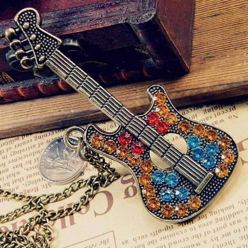 Wicked Wonders VIP Bling Necklace This Old Guitar Brass and Multi Gem Necklace Affordable Bling_Bling Fashion Paparazzi