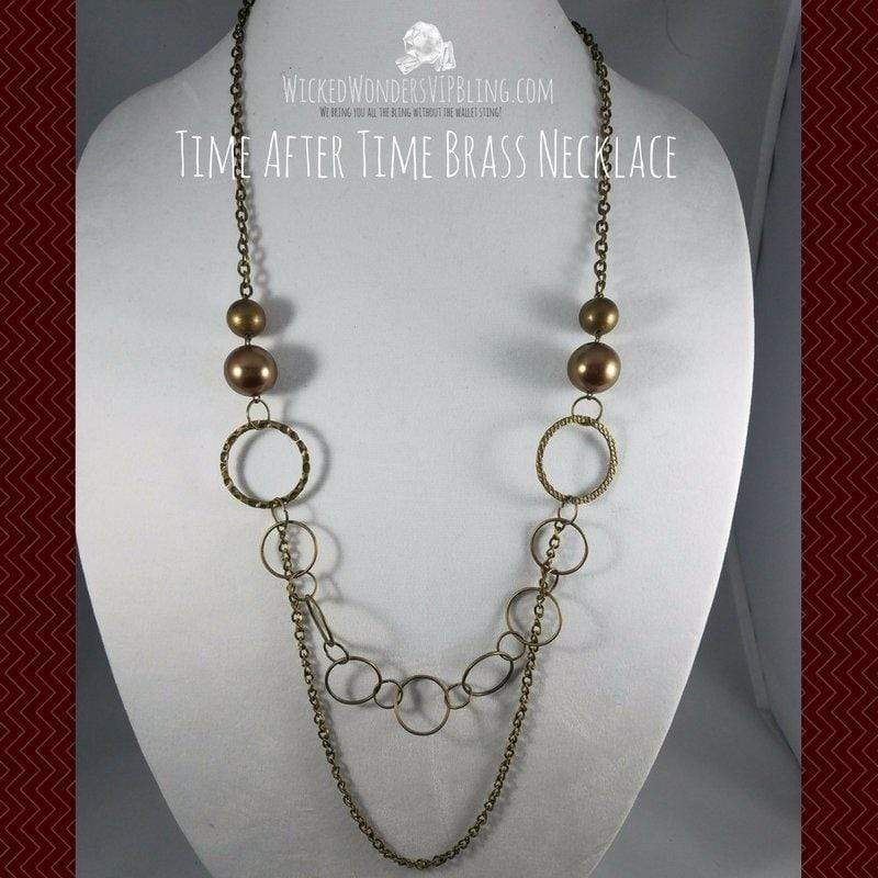 Wicked Wonders VIP Bling Necklace Time After Time Brass Necklace Affordable Bling_Bling Fashion Paparazzi