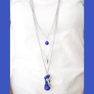 Wicked Wonders VIP Bling Necklace Tread Lightly Blue Necklace Affordable Bling_Bling Fashion Paparazzi