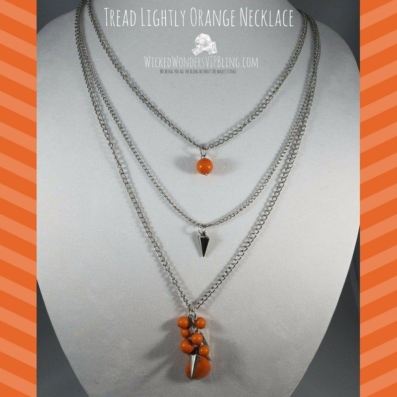 Wicked Wonders VIP Bling Necklace Tread Lightly Orange, Necklace Affordable Bling_Bling Fashion Paparazzi