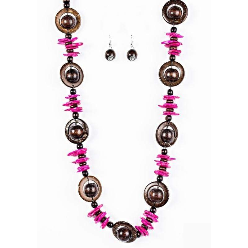 Wicked Wonders VIP Bling Necklace Tropical Tango Pink Wooden Necklace Affordable Bling_Bling Fashion Paparazzi
