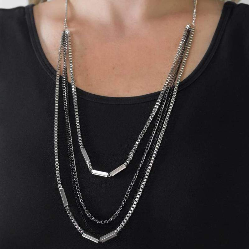 Wicked Wonders VIP Bling Necklace True Grit Silver Necklace Affordable Bling_Bling Fashion Paparazzi