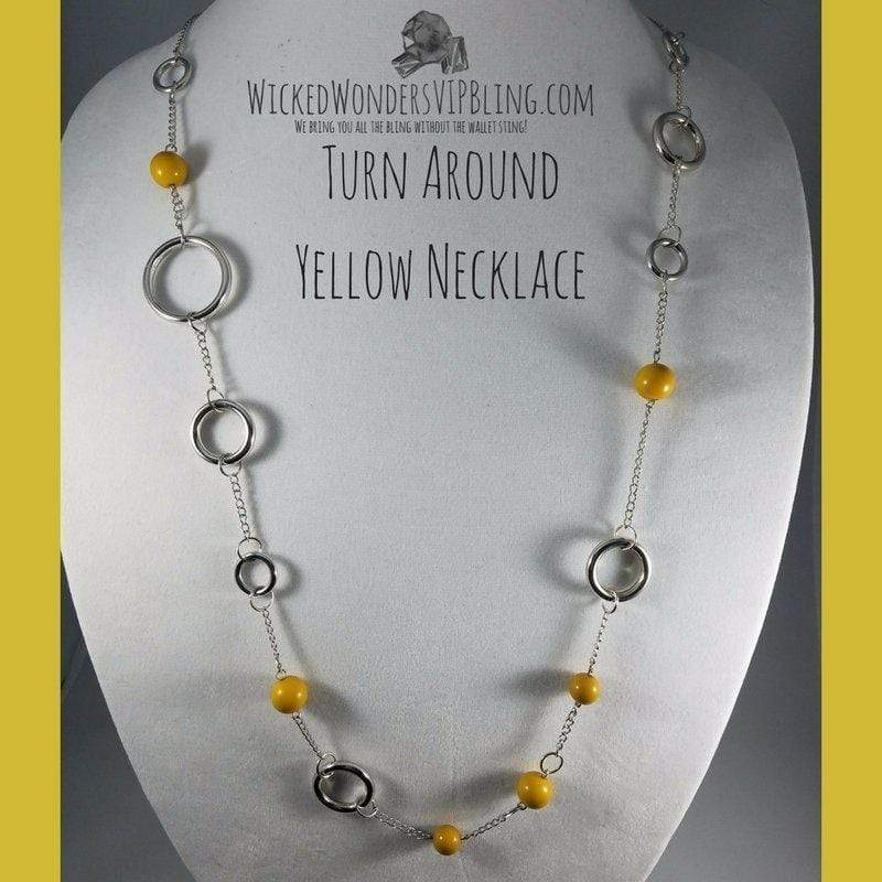 Wicked Wonders VIP Bling Necklace Turn Around Yellow Necklace Affordable Bling_Bling Fashion Paparazzi