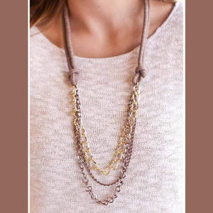 Wicked Wonders VIP Bling Necklace Unchained Melody Gold & Copper Necklace Affordable Bling_Bling Fashion Paparazzi