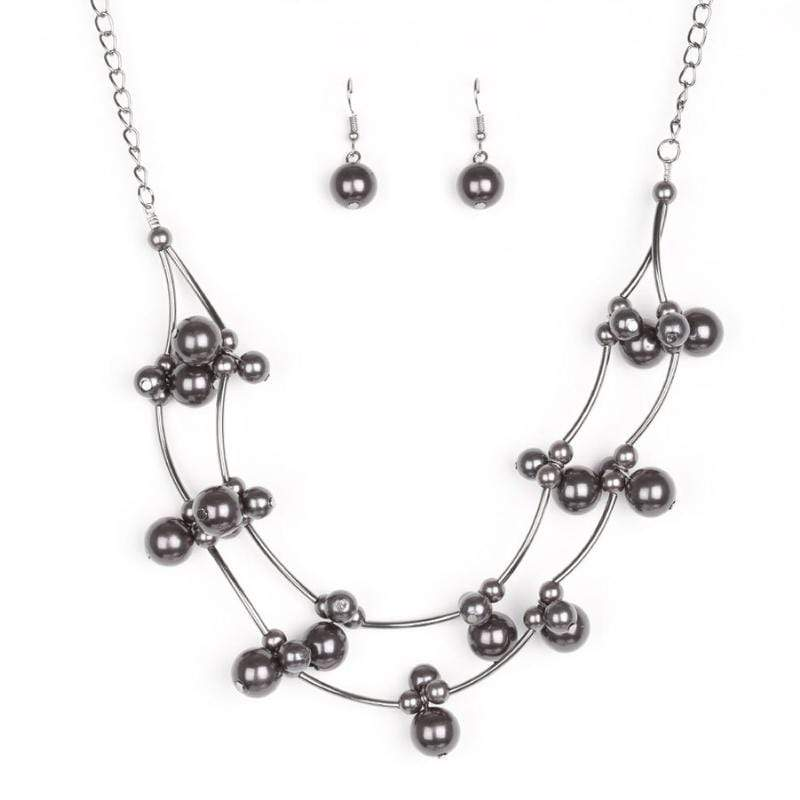 Wicked Wonders VIP Bling Necklace Wedding BELLES Black Pearl Necklace Affordable Bling_Bling Fashion Paparazzi