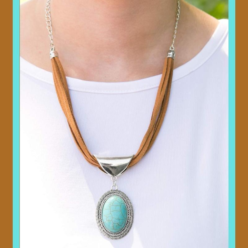 Wicked Wonders VIP Bling Necklace West Mesa Blue Stone and Brown Suede Necklace Affordable Bling_Bling Fashion Paparazzi