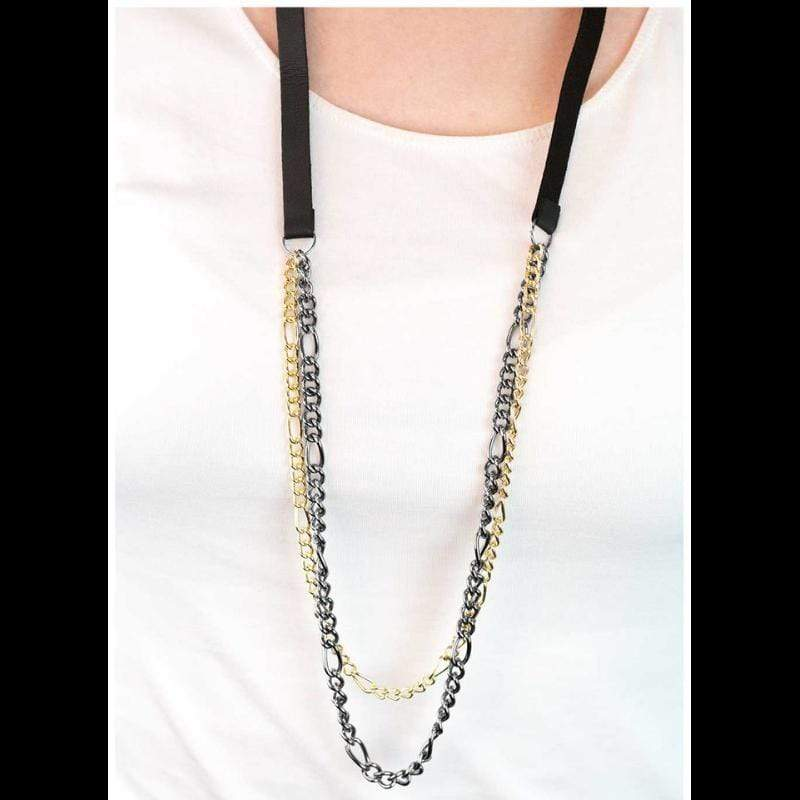 Wicked Wonders VIP Bling Necklace Wildcat Black and Gold Necklace Affordable Bling_Bling Fashion Paparazzi