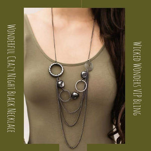 Wicked Wonders VIP Bling Necklace Wonderful Crazy Night Black Necklace Affordable Bling_Bling Fashion Paparazzi