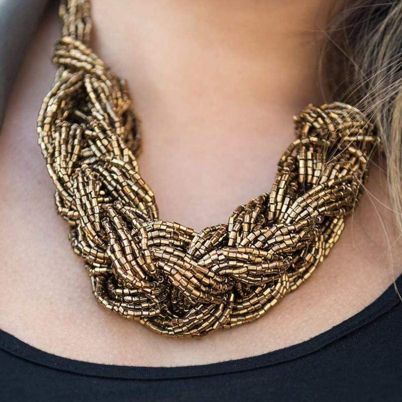 Wicked Wonders VIP Bling Necklace Wrap Battle Brass Seed Bead Necklace Affordable Bling_Bling Fashion Paparazzi