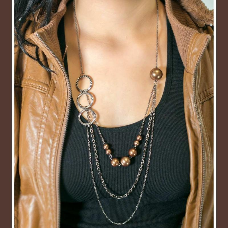 Wicked Wonders VIP Bling Necklace You're Crimping My Style Brown Necklace Affordable Bling_Bling Fashion Paparazzi