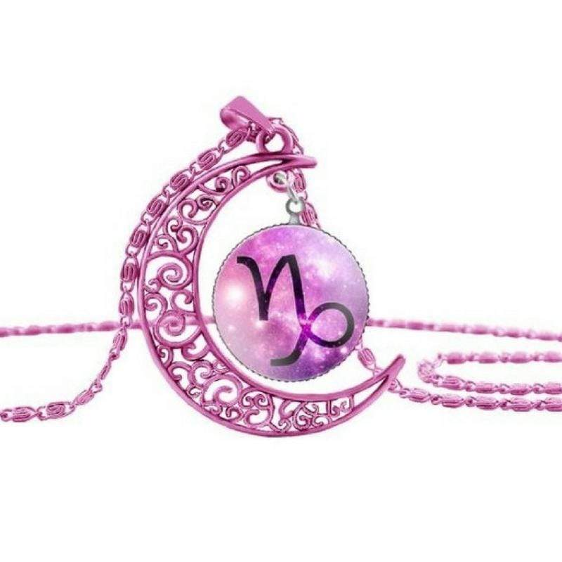 Wicked Wonders VIP Bling Necklace Zodiac Moon Pink Capricorn Necklace Affordable Bling_Bling Fashion Paparazzi