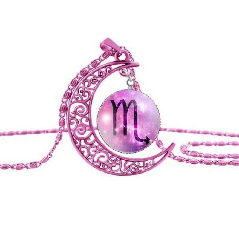 Wicked Wonders VIP Bling Necklace Zodiac Moon Pink Scorpio Necklace Affordable Bling_Bling Fashion Paparazzi