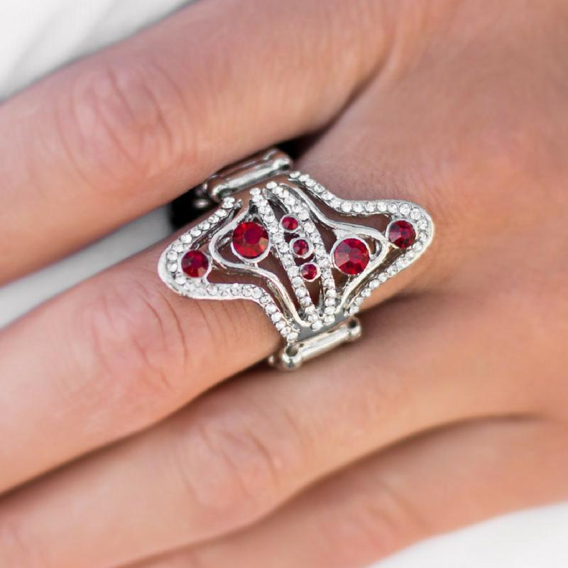 Wicked Wonders VIP Bling Ring At All Costs Red Rhinestone Ring Affordable Bling_Bling Fashion Paparazzi