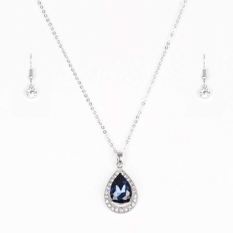 Wicked Wonders VIP Bling Ring Because I'm Queen Blue Gem Necklace Affordable Bling_Bling Fashion Paparazzi