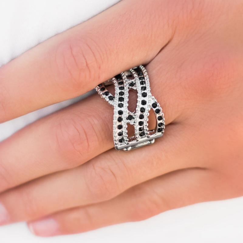 Wicked Wonders VIP Bling Ring Cover Your Tracks Black Rhinestone Ring Affordable Bling_Bling Fashion Paparazzi
