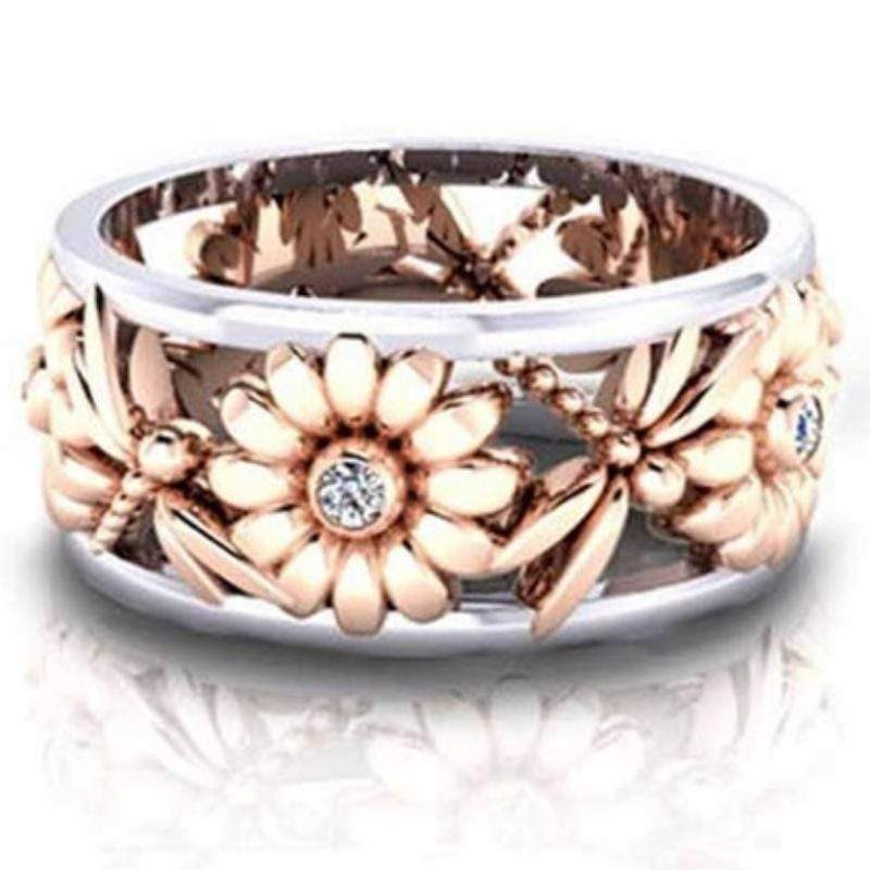 Wicked Wonders VIP Bling Ring Daisies and Dragonflies Gold and Silver Ring Affordable Bling_Bling Fashion Paparazzi