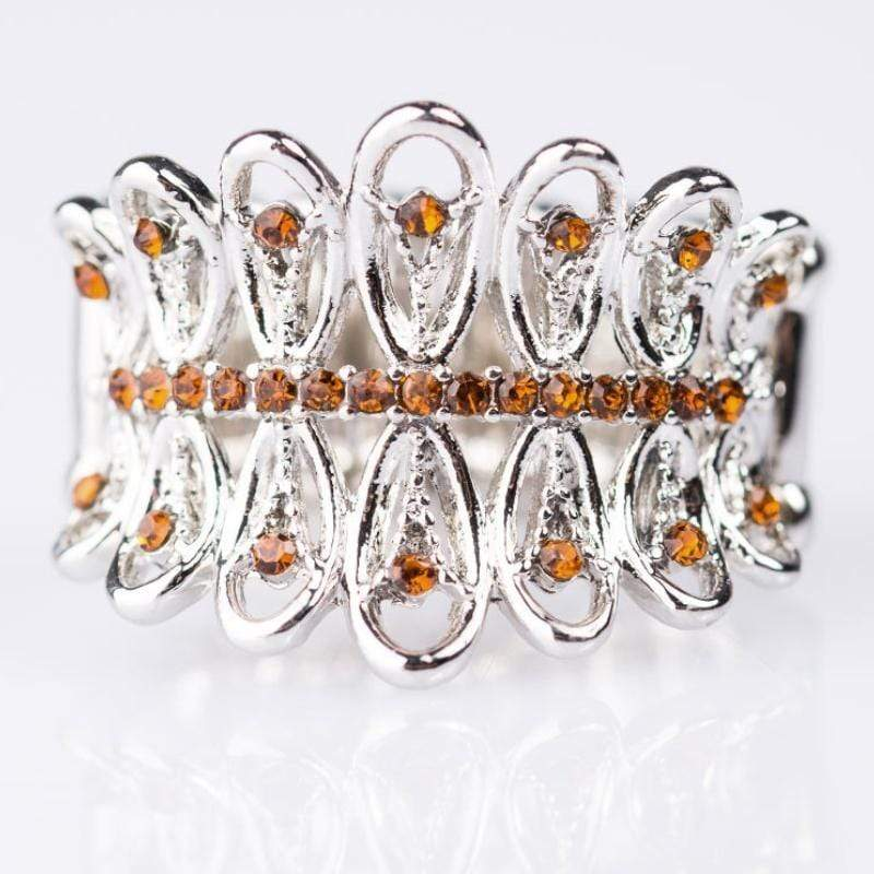 Wicked Wonders VIP Bling Ring Fancy Pants Brown Rhinestone Ring Affordable Bling_Bling Fashion Paparazzi