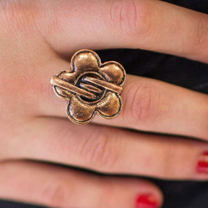 Wicked Wonders VIP Bling Ring Fingers Crossed Copper Hard Band Ring Affordable Bling_Bling Fashion Paparazzi