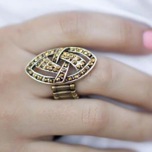 Wicked Wonders VIP Bling Ring Game Time Brass Rhinestone Ring Affordable Bling_Bling Fashion Paparazzi