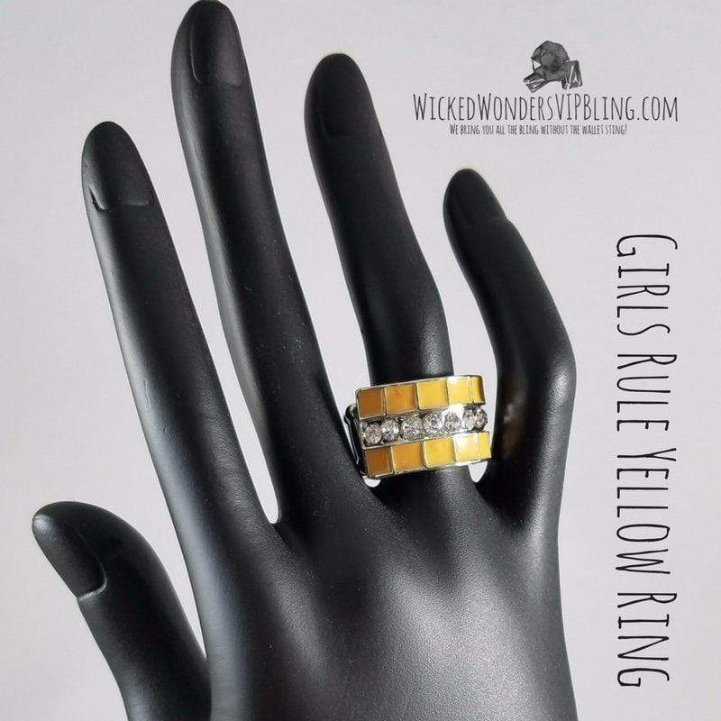 Wicked Wonders VIP Bling Ring Girls Rule Yellow Ring Affordable Bling_Bling Fashion Paparazzi