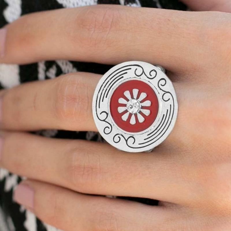 Wicked Wonders VIP Bling Ring Happy Hour Red with White Rhinestone Ring Affordable Bling_Bling Fashion Paparazzi