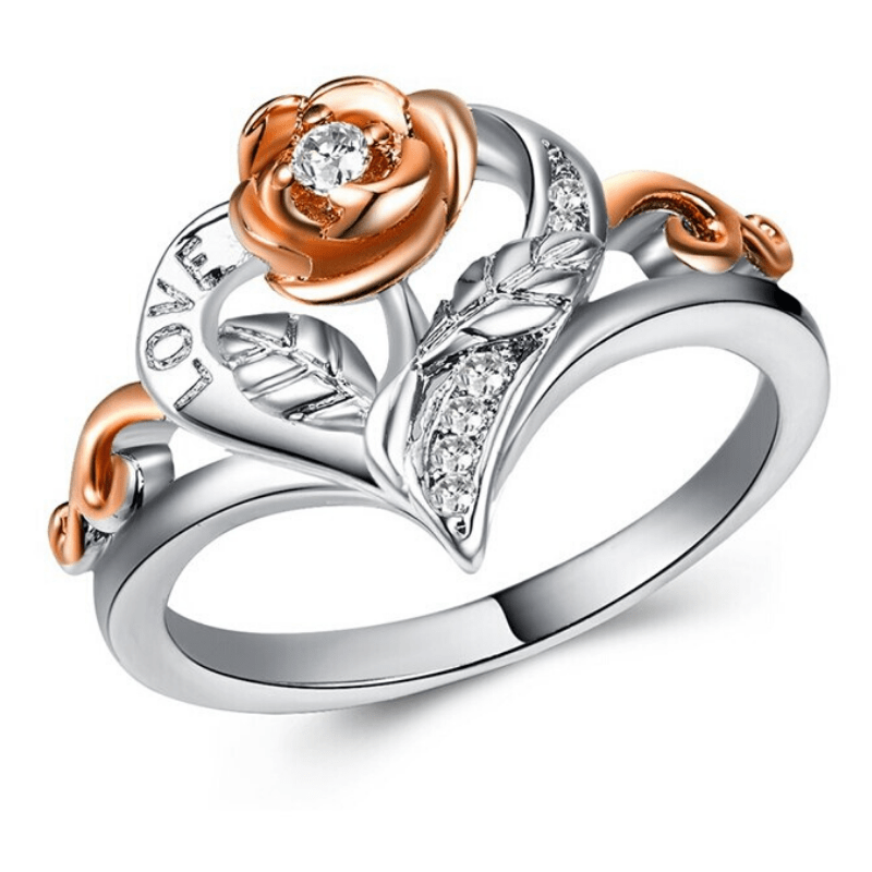 Wicked Wonders VIP Bling Ring Heart of the Rose Silver and Gold Rose Ring Affordable Bling_Bling Fashion Paparazzi