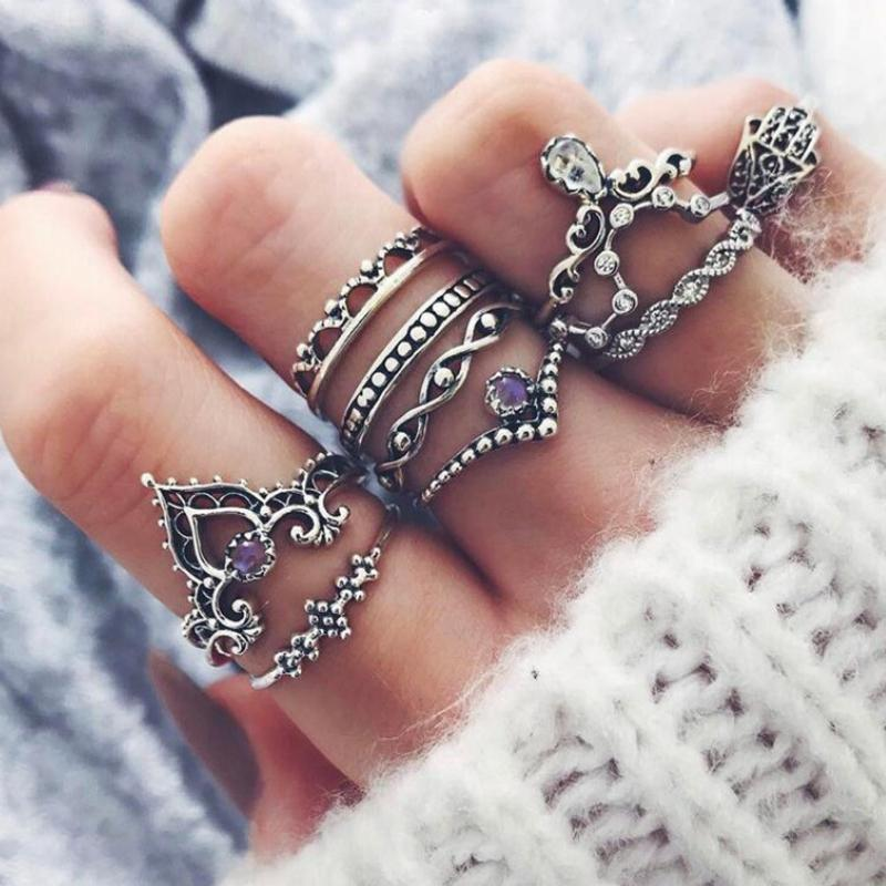Wicked Wonders VIP Bling Ring Hollow Crown Punk Silver Knuckle Ring Set Affordable Bling_Bling Fashion Paparazzi
