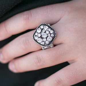 Wicked Wonders VIP Bling Ring I'm So Jealous White Rhinestone Ring Affordable Bling_Bling Fashion Paparazzi