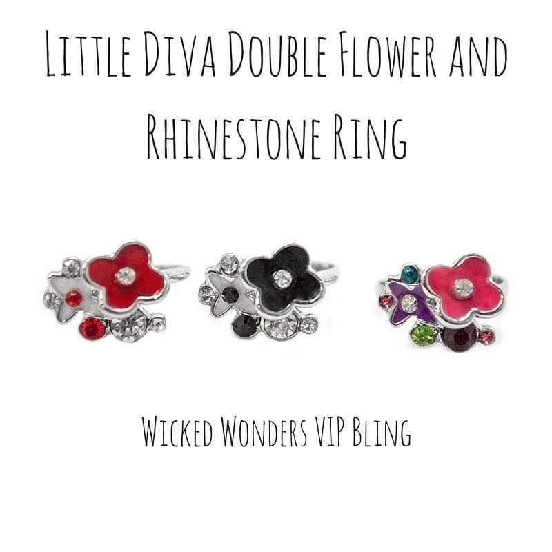 Wicked Wonders VIP Bling Ring Little Diva Double Flower and Rhinestone Ring Affordable Bling_Bling Fashion Paparazzi