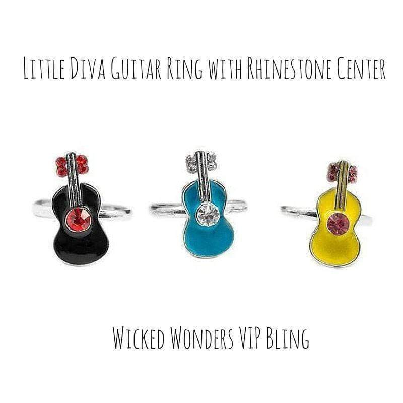 Wicked Wonders VIP Bling Ring Little Diva Guitar Ring with Rhinestone Center Affordable Bling_Bling Fashion Paparazzi