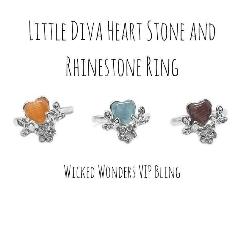 Wicked Wonders VIP Bling Ring Little Diva Heart Stone and Rhinestone Ring Affordable Bling_Bling Fashion Paparazzi