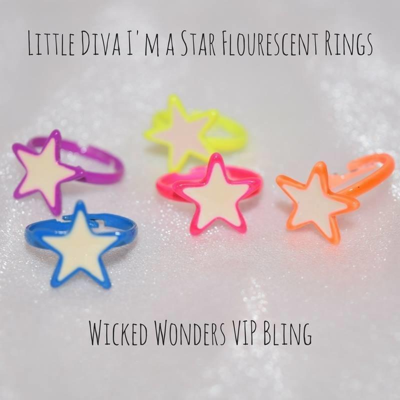 Wicked Wonders VIP Bling Ring Little Diva I'm a Star Flourescent Rings Affordable Bling_Bling Fashion Paparazzi