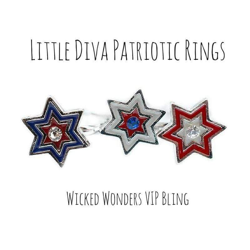 Wicked Wonders VIP Bling Ring Little Diva Patriotic Rings Affordable Bling_Bling Fashion Paparazzi