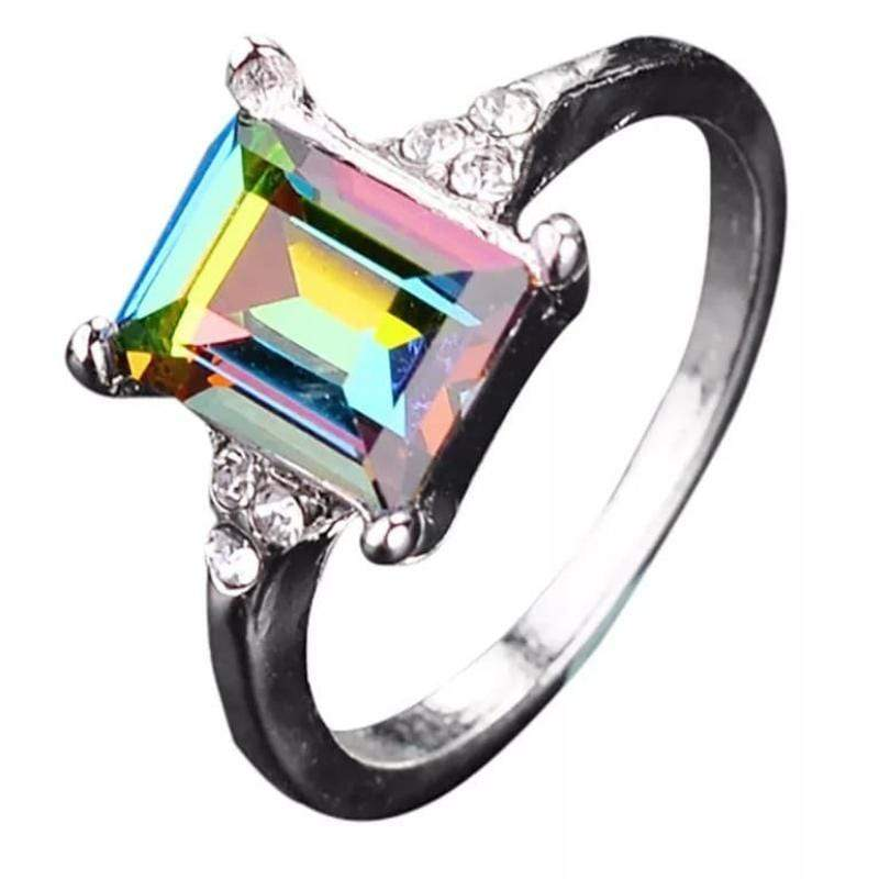 Wicked Wonders VIP Bling Ring Mystic Rainbows Emerald Cut Simulated Mystic Topaz Ring Affordable Bling_Bling Fashion Paparazzi