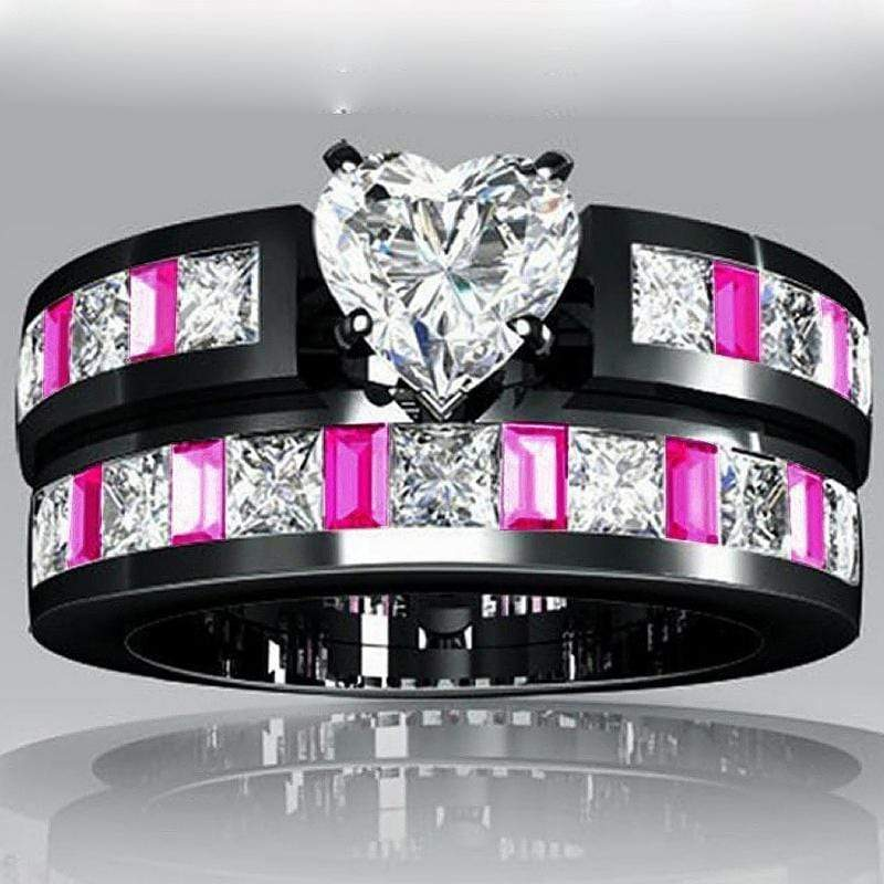 Wicked Wonders VIP Bling Ring Pink Dominoes CZ and Black Gold Plated Ring Affordable Bling_Bling Fashion Paparazzi