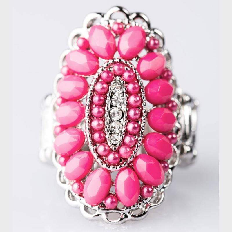 Wicked Wonders VIP Bling Ring Queen Bead Pink Bead and White Rhinestone Ring Affordable Bling_Bling Fashion Paparazzi