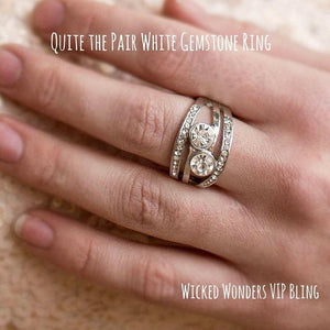 Wicked Wonders VIP Bling Ring Quite the Pair White Rhinestone Ring Affordable Bling_Bling Fashion Paparazzi