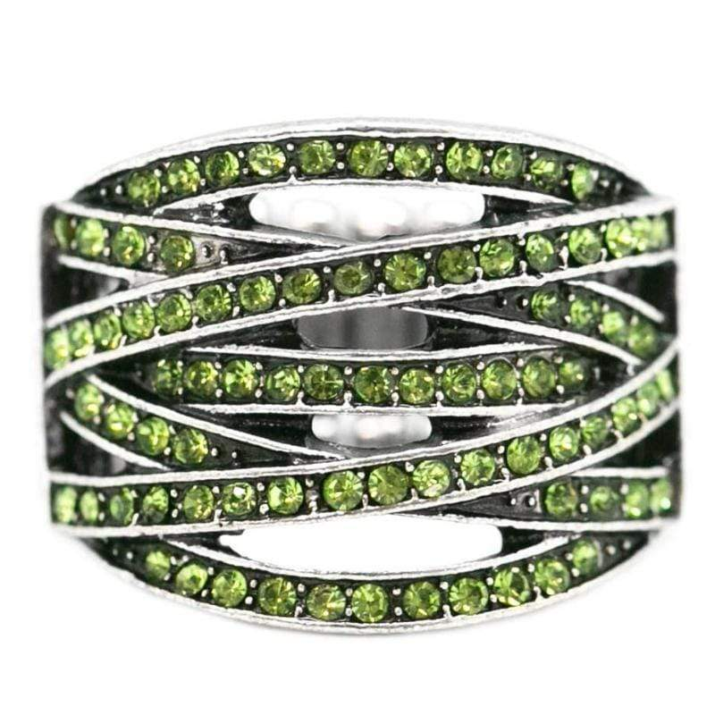 Wicked Wonders VIP Bling Ring Richie Rich Green Rhinestone Ring Affordable Bling_Bling Fashion Paparazzi