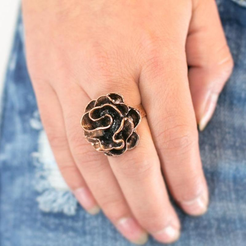 Wicked Wonders VIP Bling Ring Rustic Ruffles Copper Hard Band Adjustable Ring Affordable Bling_Bling Fashion Paparazzi